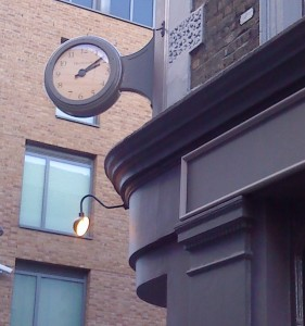 A corner clock added to a new bar on York Way.