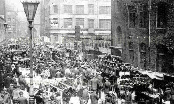 The above photo shows Petticoat Lane in Victorian times.