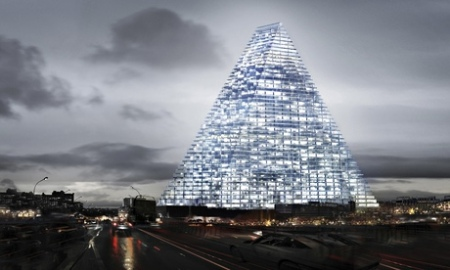 Computer generated image of the Triangle tower in Paris