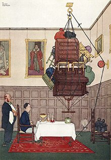 Heath Robinson illustration of 'A simple method of cracking nuts'