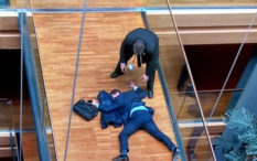 Grabs from ITV show Steven Woolfe collapsed on the floor after a supposed altercation with fellow UKIP MP's at the European Government building, Strasbourg.