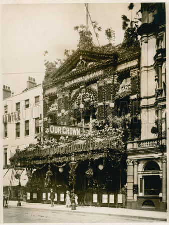 The Empire Theatre, Leicester Square, London, decorated for Queen Victoria's Diamond Jubilee, June 1897