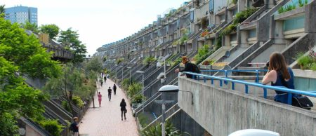 Participants exploring the Alexandra Road Estate, London. © Kate McMillan / RIBA, British Architectural Library